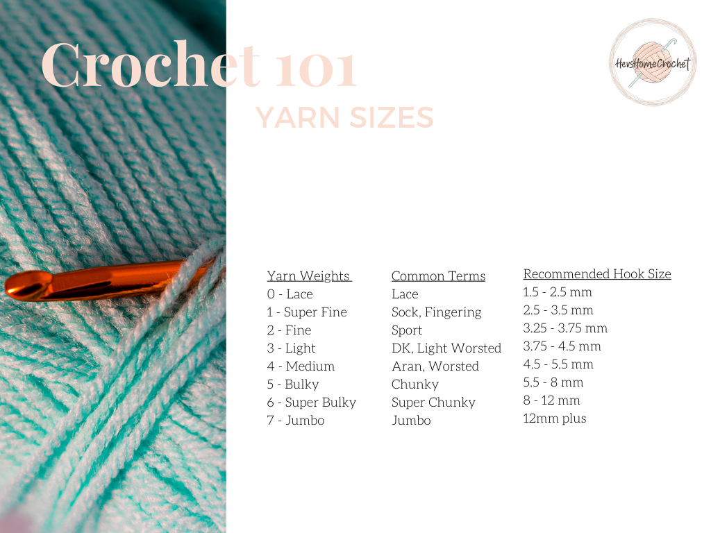 Crochet 101: Yarn Sizes and What Hooks Size To Use